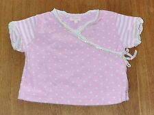 MONSOON Girls Pink Polkadot Stripe Crossover Wrapover Top Size 6 -12 Months