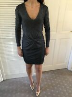 Ted Baker Black Silver Glitter Knot Detail Bodycon Dress Size 8 (1)