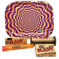 RAW 1 1/4 Rolling Papers, 79mm Roller,Leaf Lock Gear Mini Tray (Trippy) and MORE