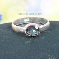 Mystic Topaz  Solid 925 Sterling Silver Ring , Handmade Ring Size - 8.5 R 205