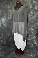 Lagenlook raffiniert Hexen-Tunika-Shirt Fledermaus MESH GRAU 44,46,48 L,XL,XXL