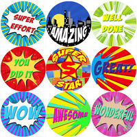 144 Superhero Comic Praise Words - Themed Teacher Reward Stickers - Size 30mm