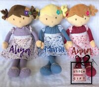 Personalised Rag doll- Soft Dolly. Embroidered NAME on. First Christmas Gift