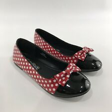 Funtasma Minnie Mouse Look Shoes Womens 6 Patent Leather Polka Dots Red White