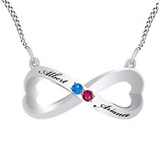 Personalized Engravable Simulated Blue Topaz Infinity Necklace Sterling Silver