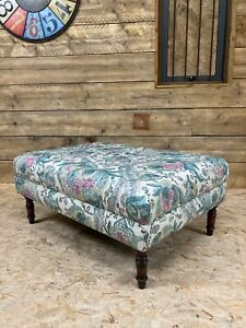 Ormesby large footstool fabric bench seat window antique vintage linen pink