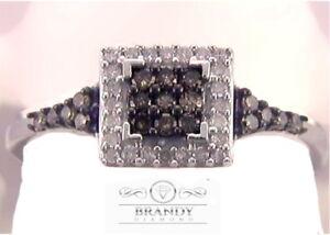 Brandy Diamond® Chocolate Brown Silver Popular Princess Design Ring .36 Ct