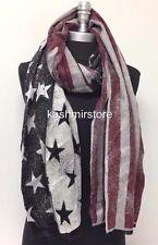 New USA Flag Print Blanket Scarf Wrap Shawl Stole Soft Pashmina Unisex Black