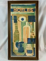 """Mid Century Modern Signed & Numbered 6/8 Abstract Print Modernist """"Bottles"""" C884"""