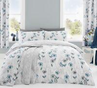 Dreams & Drapes Fliss Floral Poppy Reversible Duvet Cover Bedding Set Duck Egg