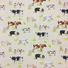 Prestigious Farm Yard Animals Fabric Linen 137cm Wide Cotton, Pigs, Cows, Sheep