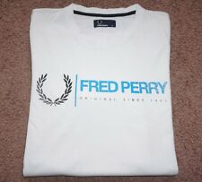 Fred Perry Men's Solid White Short Sleeve Cotton Casual T-Shirt Size M