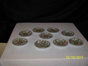 Antique Chinese Hand Painted 12 Sided Rose Medallion Set of 9 Plates