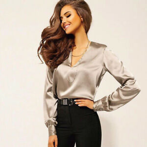 Leisure Deep V-neck Long Sleeve Satin Blouse Business Casual Outfits Top