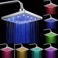 Bathroom 8-inch LED Light Rainfall Shower Head Square Top Sprayer Colorfully
