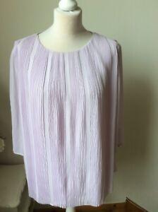 BNWT TED BAKER Light Purple Pleated Top Size 5 (UK 16) RRP £109 3/4 Sleeve