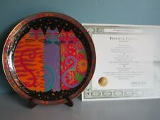 Laurel Burch Fanciful Felines Plate + Certificate & Stand from Franklin Mint