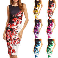 Women Sleeveless Bandage Bodycon Evening Party Cocktail Summer Pencil Midi Dress