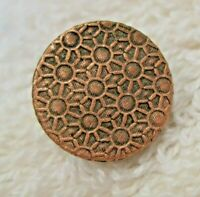 Vintage Bright Coppery Tone Metal Floral Wallpaper Button 1/2 Inch