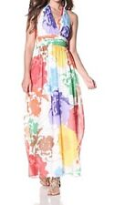Ellen Tracy Dress Sz 10 White Multi Color Floral Halter Summer Party Dress