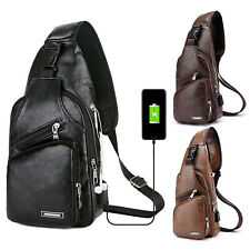 Men Leather Sling Bag Chest Shoulder Crossbody Backpack USB Charging Port Travel