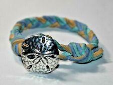 "RETIRED JAMES AVERY Sterling Silver SAND DOLLAR Braided Leather Bracelet 6.25"""