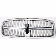 New Grille Assembly Grill Chrome Shell w/ Gray Insert For Dodge Ram 1500 02-05