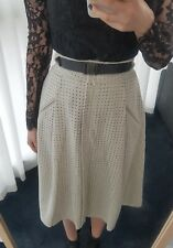 ZARA gray grey laser cut suede a line knee length skirt XS 6 new