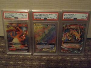 POKEMON PSA SET OF 3 CARDS - M CHARIZARD EX, CHARIZARD GX, MOLTRES RAINBOW