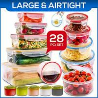 28 PCs Large Food Storage Containers, Leak proof Prep Containers & Kitchen set.