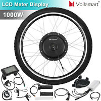 """Voilamart  1000W 26"""" Electric Bicycle Conversion Kit 48V Front Wheel LCD Meter"""