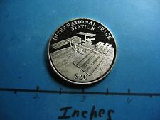 INTERNATIONAL SPACE STATION $20 LIBERIA 2000 VERY RARE 999 SILVER COIN SHARP D43
