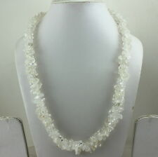NATURAL CRYSTAL  CHIPS GEMSTONE BEADED LONG NECKLACE 118 GRAMS