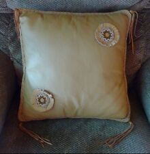 Handmade Tan Leather Pillow With Beaded Rosettes New Retail $119