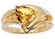 14K Genuine Citrine 7mm Trillion Cut Yellow Gold Ring