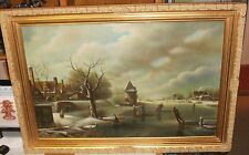 JAMES HAMILTON ENGLISH ICE SKATING LANDSCAPE LARGE OIL ON CANVAS FOLK PAINTING
