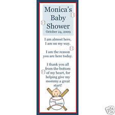 24 Baby Shower Bookmark Favors Baseball  LITTLE SLUGGER