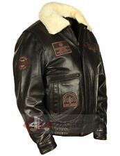 Men's Jet Fighter Bomber Navy Air Force Pilot Winter Real Fur Collar Jacket