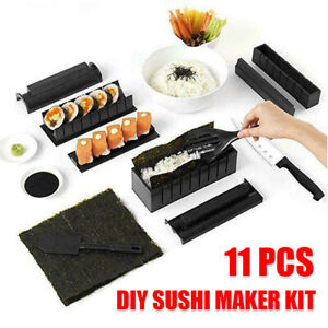 DIY Sushi Maker Making Kit Rice Roller Mold Set for Beginners Kitchen 11 PCS AU