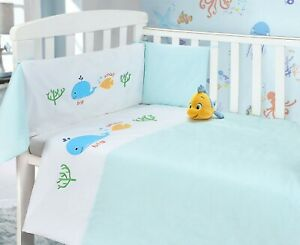 Baby Nursery Whale Piece Cot Bumper & Quilt Bedding Bale Set