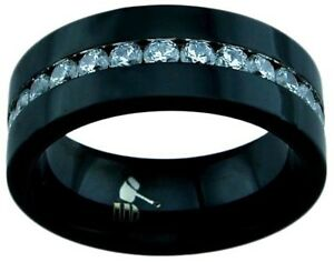 Men's 8mm all Black TITANIUM Lab created Diamond Wedding Band Ring Man's Jewelry