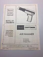 SEARS CRAFTSMAN AIR HAMMER OWNERS MANUAL 756.18850 18850