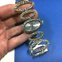 """New CHICO'S Watch Silver Bracelet Style Oval Wide Hammered Chain Links 8"""" BB48"""