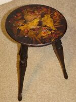Antique Oak Milking Stool with Birds in a Tree Image to Seat Three Turned Legs