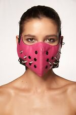 Pink Faux Leather Mouth Face Cover Spikes Rocker Steam Punk Hannibal Biker Mask