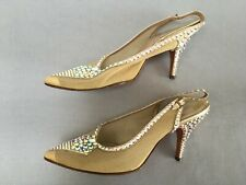 VINTAGE 1950s DIAMANTE GOLD MESH SLING BACK STILETTO SHOES  BRIDAL UK 4