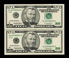 1996 $50  Federal Reserve 2 consecutive notes uncirculated