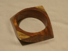 Vintage Chunky Run Way Piece Carved Burly Teak Wood Bracelet By Gerda Lynggaard