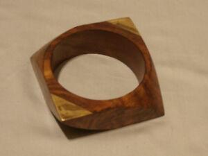 Vintage Chunky Run Way Piece Carved Burly Teak Wood Bracelet By Gerda Lynggaard