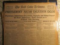 Politics History Newspaper 1901 PRESIDENT McKINLEY NEAR DEATHS DOOR SALT LAKE CT